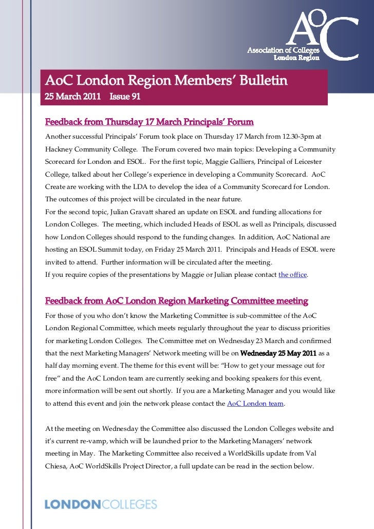 AoC London Region Members' Bulletin25 March 2011        Issue 91Feedback from Thursday 17 March Principals' ForumAnother s...