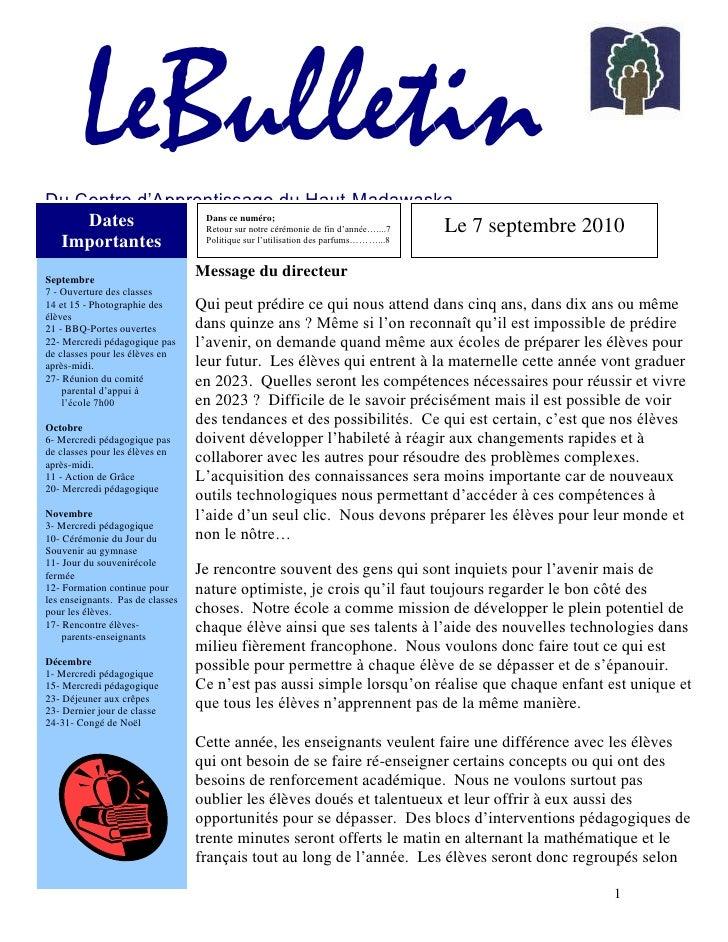 LeBulletin Du Centre d'Apprentissage du Haut-Madawaska            Apprendre pour la vie !<br />Dates Importantes<br />Le ...