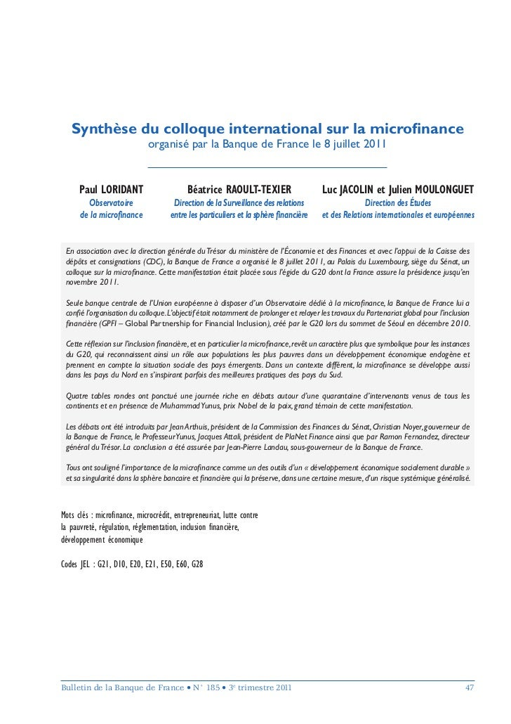 Synthèse du colloque international sur la microfinance                             organisé par la Banque de France le 8 ju...