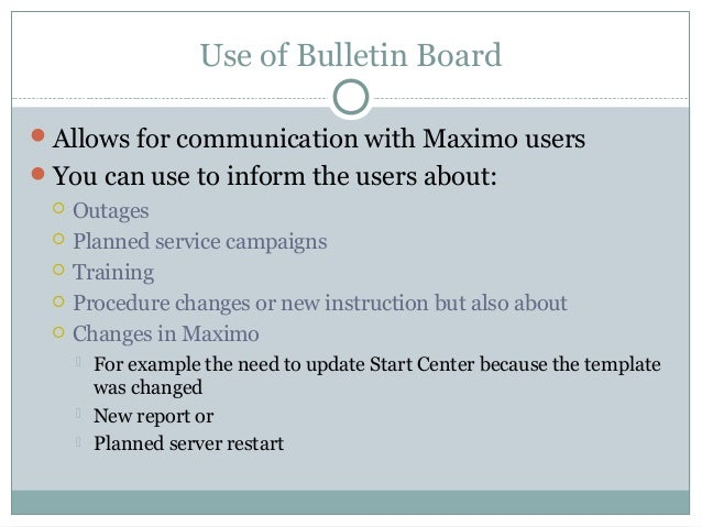 Bulletin board in ibm maximo asset management for Maximo communication template