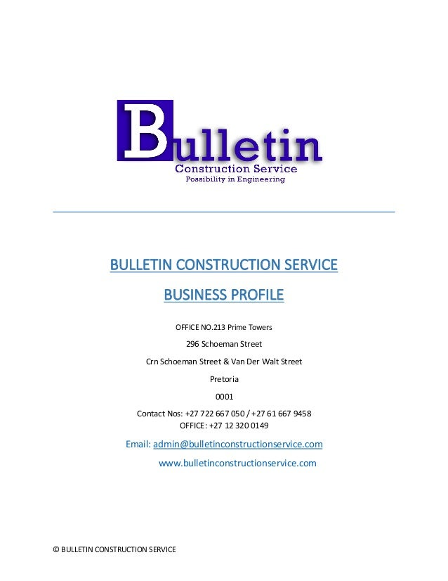 Bulletin construction secvice business profile 24 06 2016 word