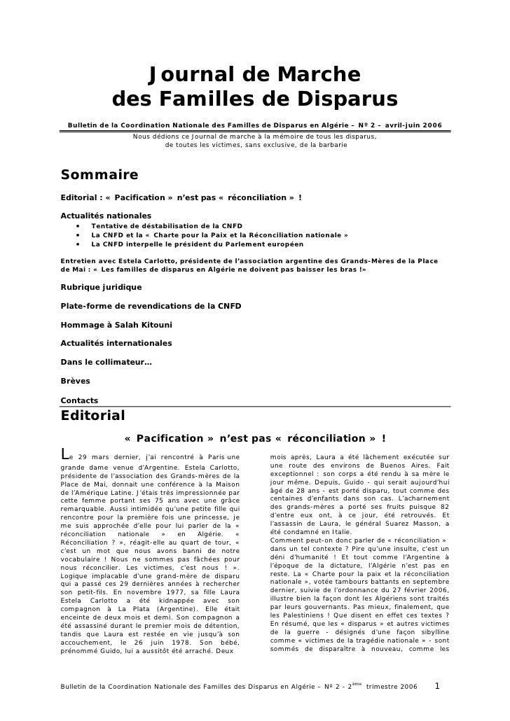 Journal de Marche              des Familles de Disparus  Bulletin de la Coordination Nationale des Familles de Disparus en...