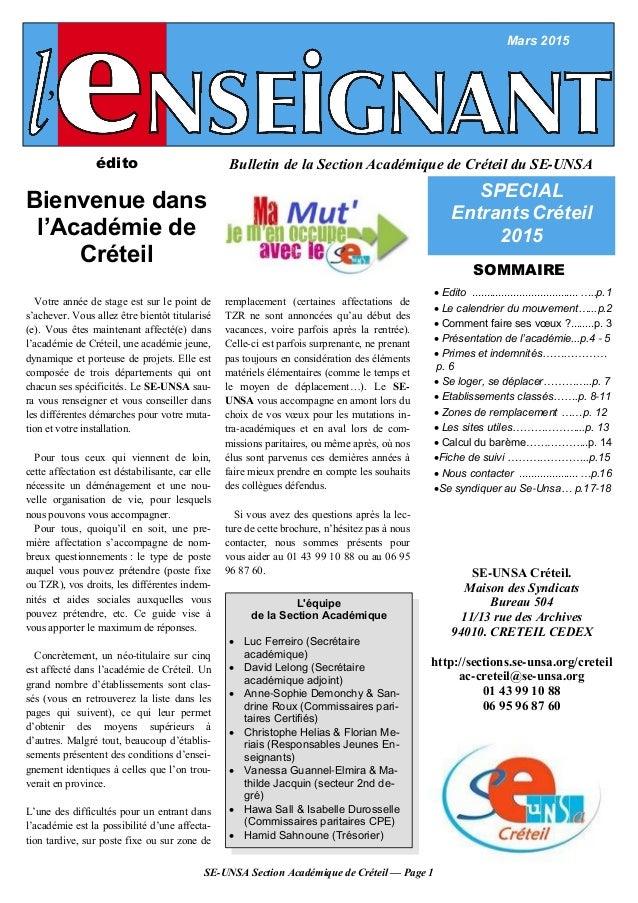 SE-UNSA Section Académique de Créteil — Page 1 Bulletin de la Section Académique de Créteil du SE-UNSAédito Bienvenue dans...