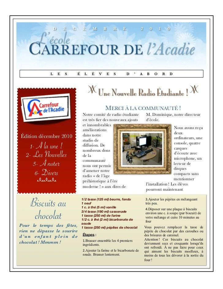 D       É   C       E      M       B       R    E              2        0       1       0     L'école    CARREFOUR DE l'Ac...