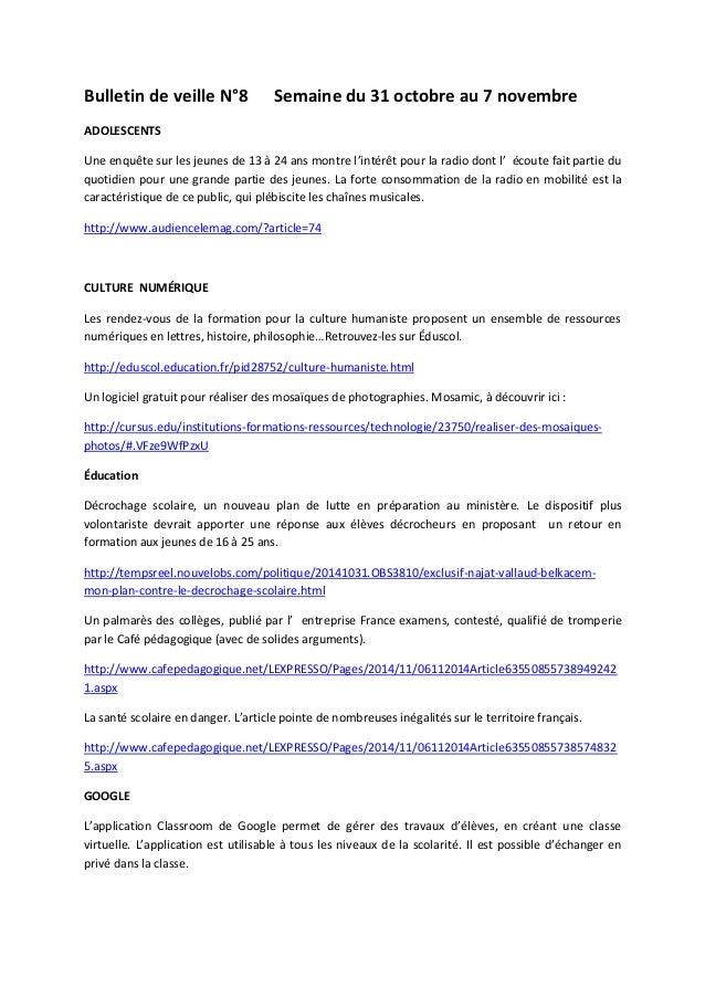 Bulletin de veille N°8 Semaine du 31 octobre au 7 novembre ADOLESCENTS Une enquête sur les jeunes de 13 à 24 ans montre l'...