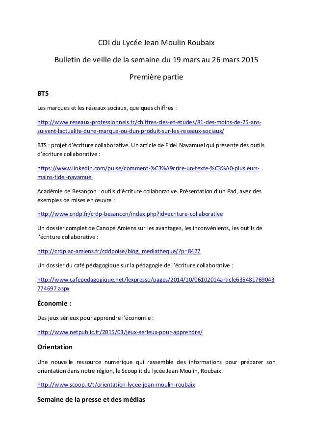 CDI du Lycée Jean Moulin Roubaix Bulletin de veille de la semaine du 19 mars au 26 mars 2015 Première partie BTS Les marqu...