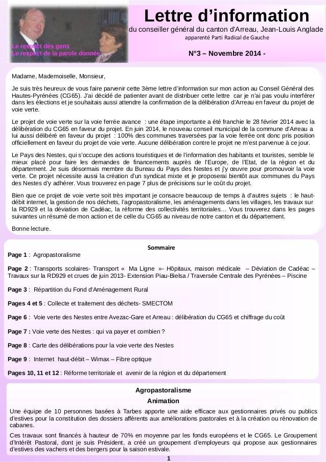 Le respect des gens  Le respect de la parole donnée  ,  Lettre d'information  du conseiller général du canton d'Arreau, Je...