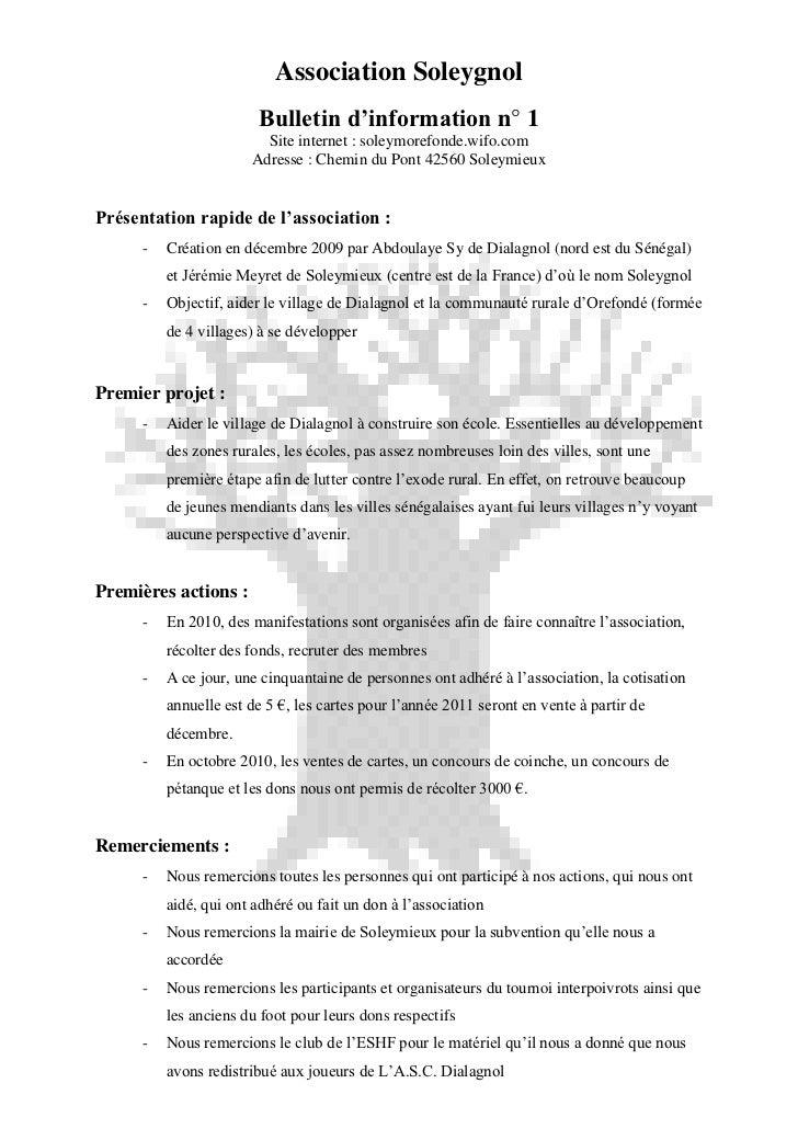 Association Soleygnol                        Bulletin d'information n° 1                         Site internet : soleymore...