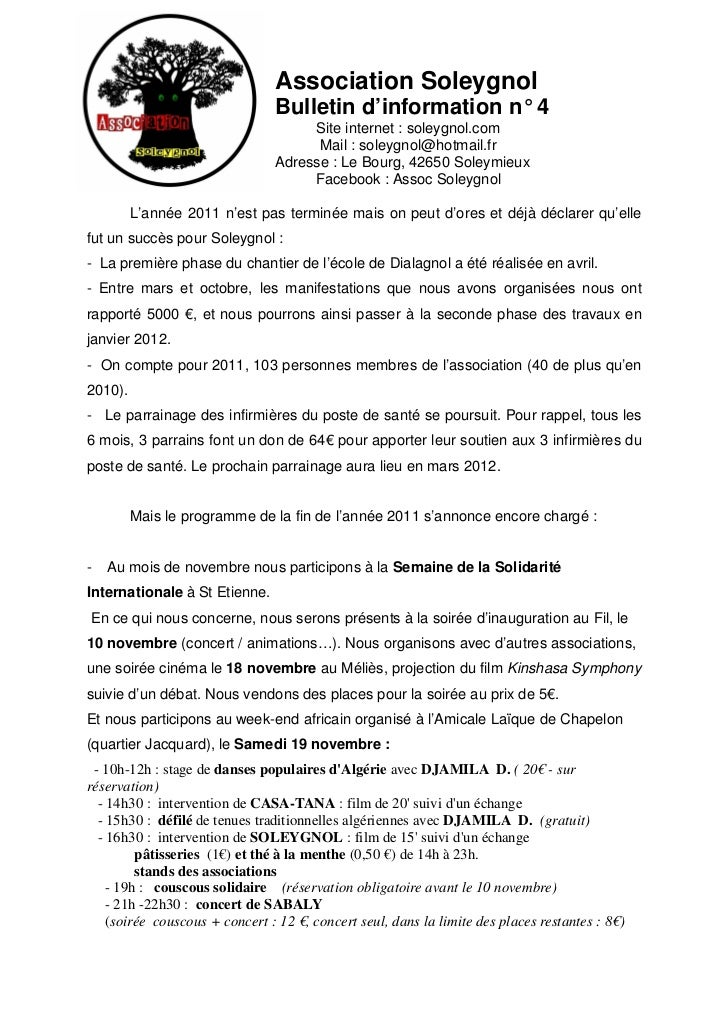 Association Soleygnol                                Bulletin d'information n° 4                                     Site ...