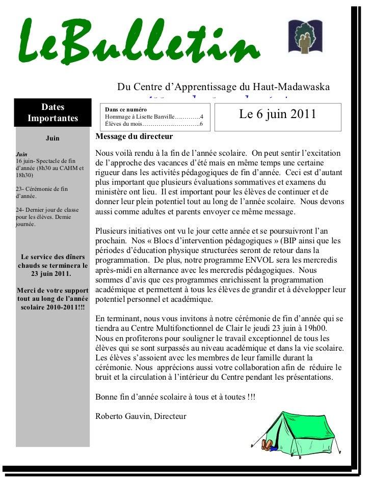 LeBulletin                         Du Centre d'Apprentissage du Haut-Madawaska                                        Appr...