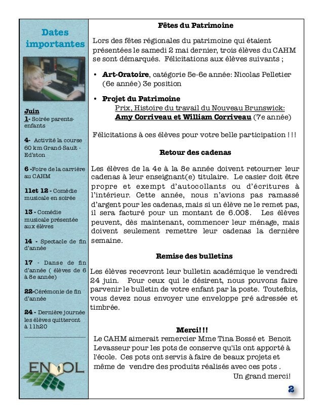 Dates importantes Juin 1- Soirée parents- enfants 4- Activité la course 60 km Grand-Sault - Ed'ston 6 -Foire de la carrièr...