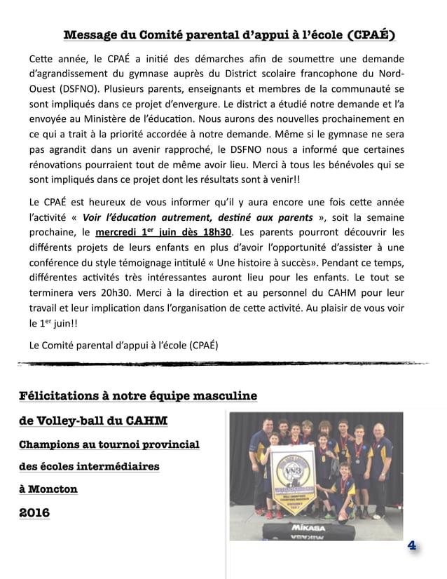 Message du Comité parental d'appui à l'école (CPAÉ) Ce#e année, le CPAÉ a ini.é des démarches afin de soume#re u...