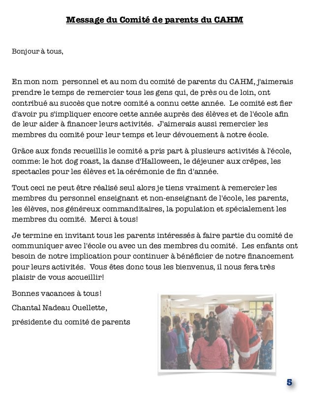 Message du Comité de parents du CAHM Bonjour à tous, En mon nom personnel et au nom du comité de parents du CAHM, j'aimera...