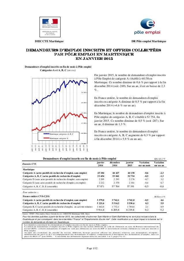 DIECCTE Martinique DR Pôle emploi Martinique 4 janvier décembre janvier Variation Variation 2014 2014 2015 sur un mois sur...