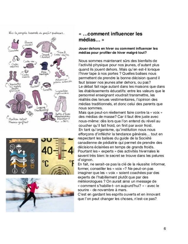 «…comment influencer les médias…» Jouer dehors en hiver ou comment influencer les médias pour profiter de hiver malgré tout...
