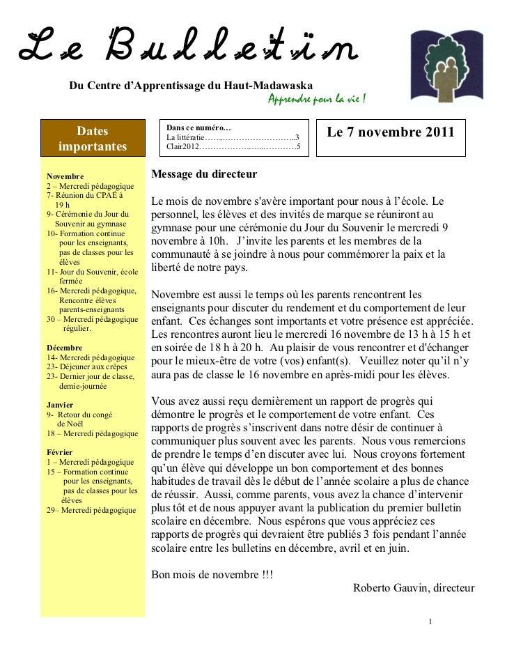 Le Bulletin      Du Centre d'Apprentissage du Haut-Madawaska                                                        Appren...