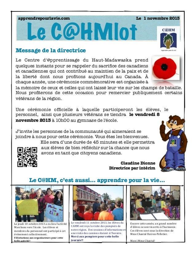 apprendrepourlavie.com    Le 1 novembre 2013  Le C@HMlot Message de la directrice Le Centre d'@pprentissage du Haut-Mada...