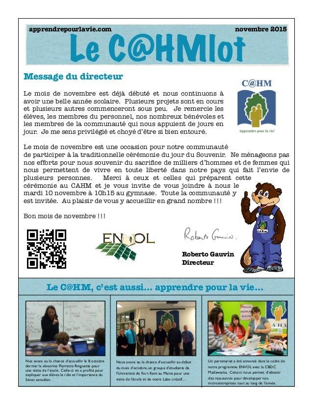 Nos avons eu la chance d'accueillir le 8 octobre dernier la sénatrice Pierrette Ringuette pour une visite de l'école. Cell...