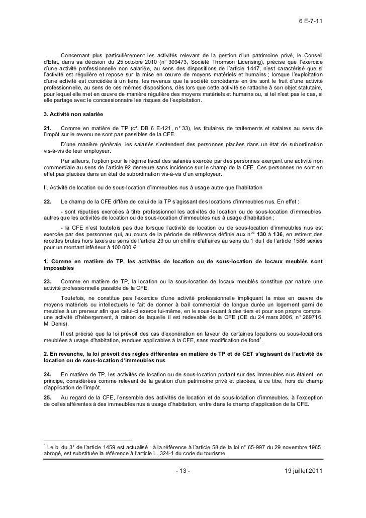 Bulletin officiel des impots 19 07 2011 - Revenus des locations meublees non professionnelles imposables ...