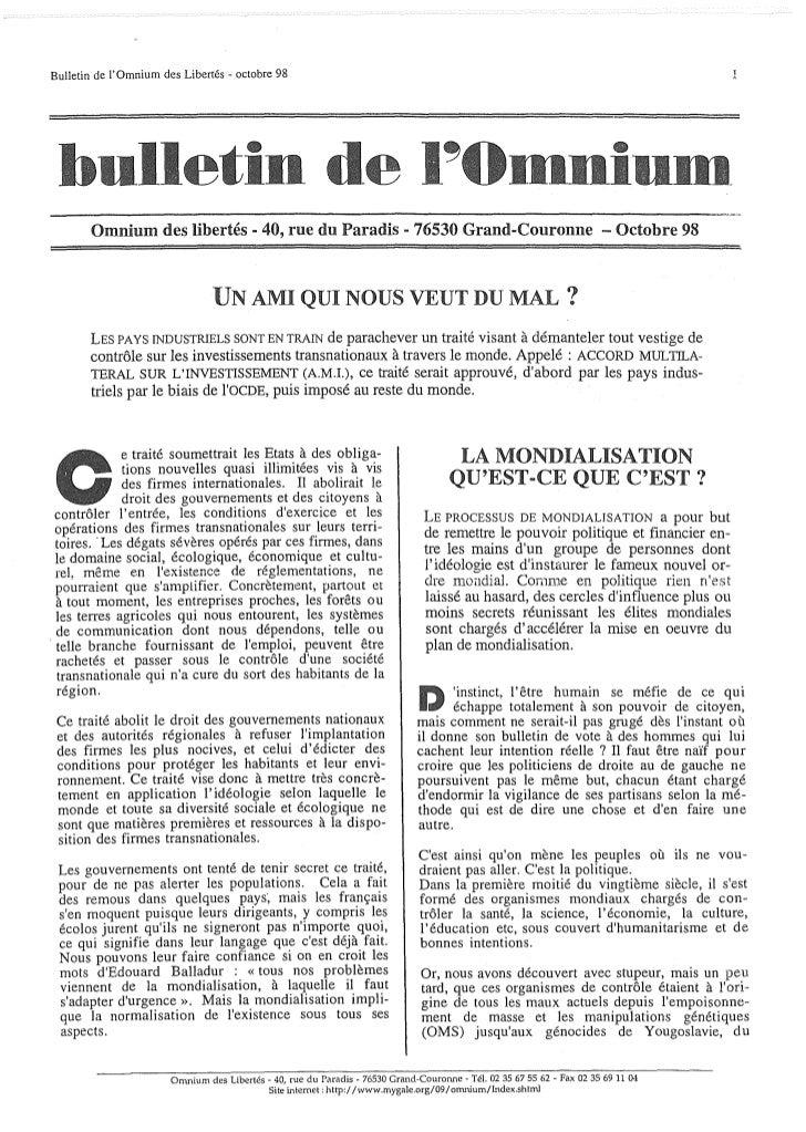 Bulletin de lOmnium des Libertés - octobre 98 bulletin de                                                                 ...