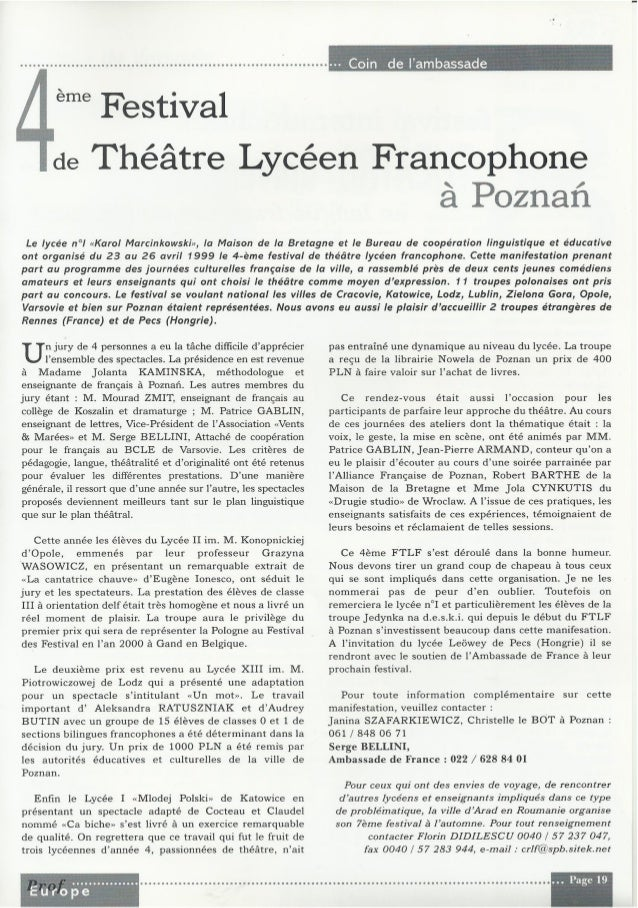 Bulletin prof europe no 2 mai 1999 1 32 for Bureau lyceen