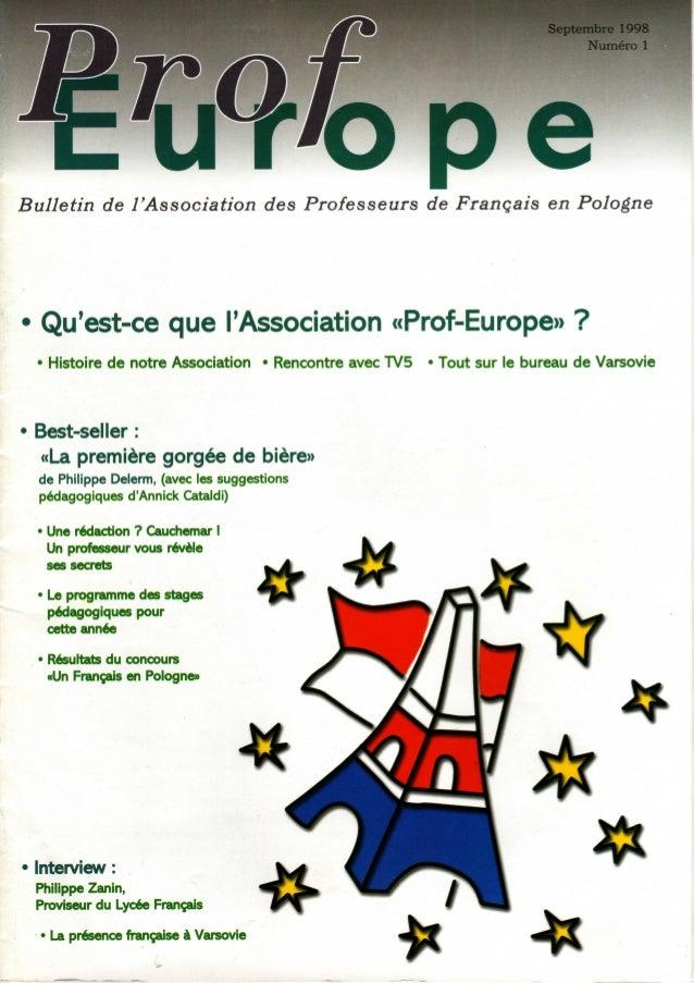 """Septembre 1998 Numéro 1     Bulletin de I'Association des Professeurs de Français en Pologne  """" Qwest-ce cgue l'i-ssocia; ..."""