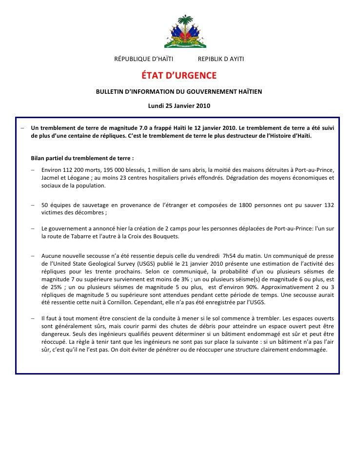 RÉPUBLIQUE D'HAÏTI               REPIBLIK D AYITI                                                  ÉTAT D'URGENCE         ...