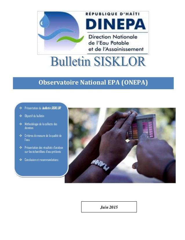 Page 0 de 10 Observatoire National EPA (ONEPA) Observatoire National EPA ( Observatoire National EPA (ONEPA)  Présentatio...