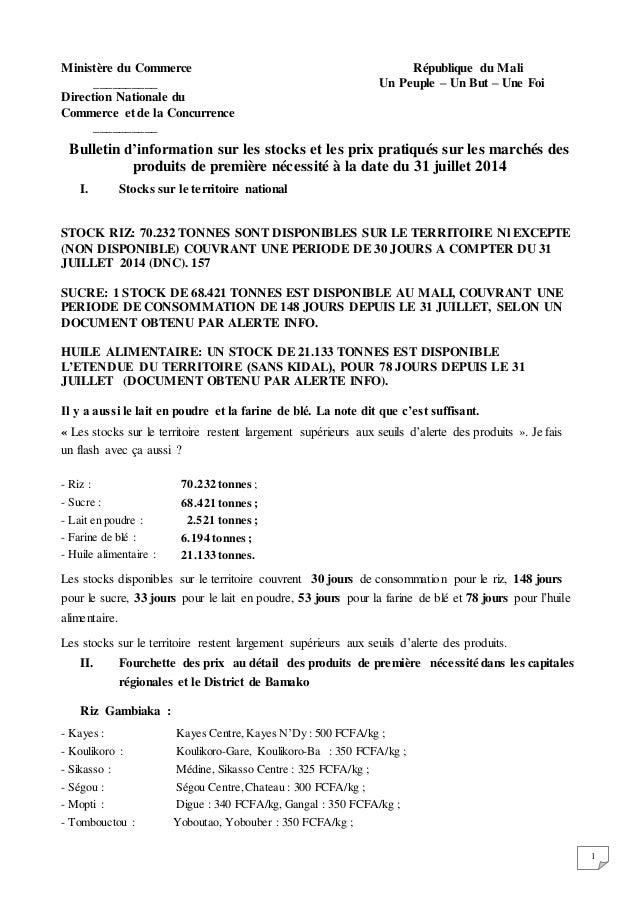 Bulletin sur les stocks et les prix des produits de premi+¿re n+®cessit+® +á la date du 31 juillet 2014