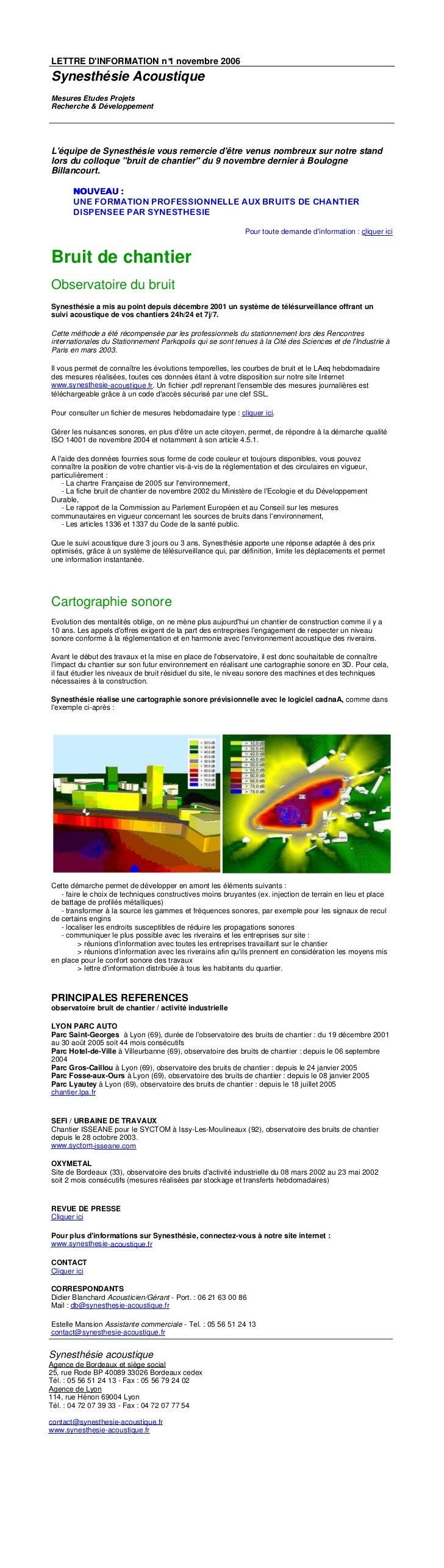LETTRE DINFORMATION n° novembre 2006                       1 Synesthésie Acoustique Mesures Etudes Projets Recherche & Dév...