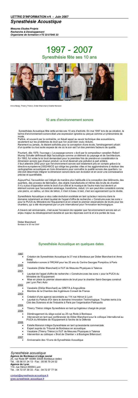 LETTRE DINFORMATION n° - Juin 2007                      4Synesthésie AcoustiqueMesures Etudes ProjetsRecherche & Développe...