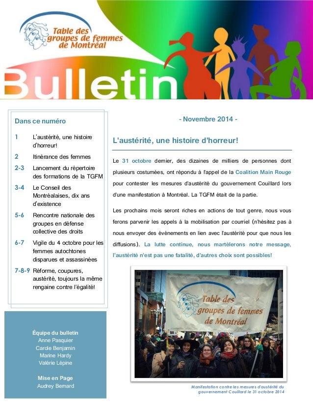 Équipe du bulletin Anne Pasquier Carole Benjamin Marine Hardy Valérie Lépine Mise en Page Audrey Bernard - Novembre 2014 -...