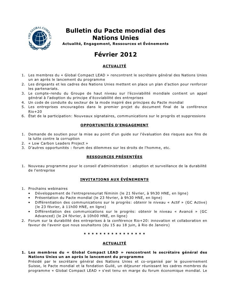 Bulletin du Pacte mondial des                               Nations Unies                     Actualité, Engagement, Resso...