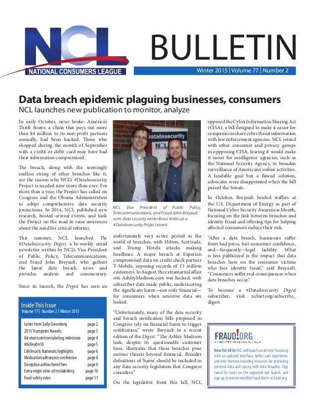 Data breach epidemic plaguing businesses, consumers NCL launches new publication to monitor, analyze In early October, new...