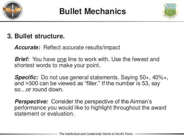 Air force bullet writing help
