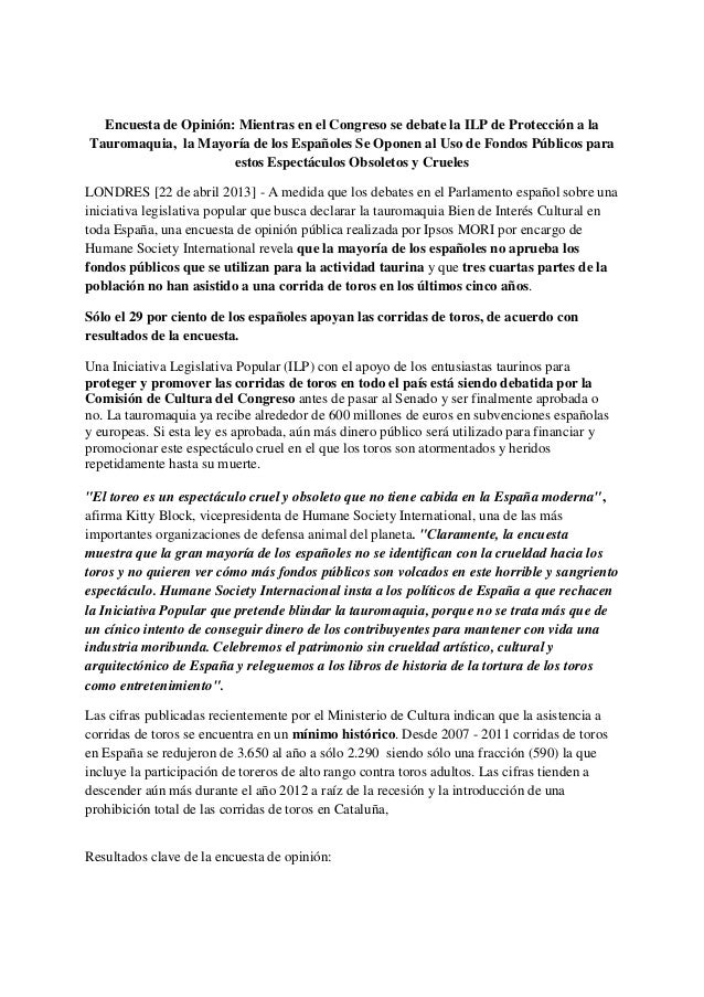 Encuesta de Opinión: Mientras en el Congreso se debate la ILP de Protección a la Tauromaquia, la Mayoría de los Españoles ...
