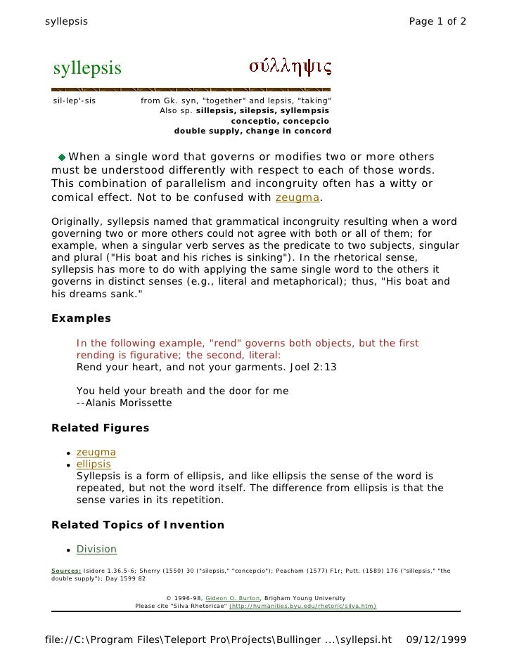 Syllepsis Examples Choice Image Example Cover Letter For Resume