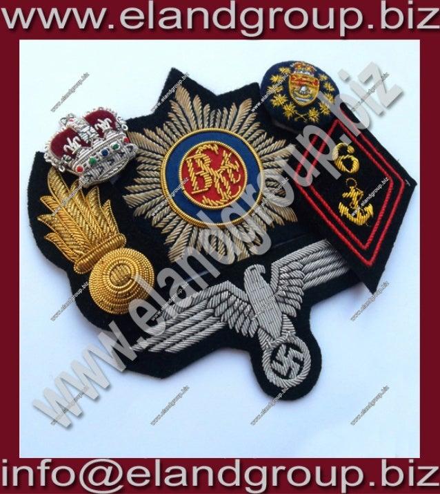 Bullion wire blazer badges