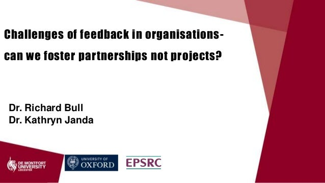 Dr. Richard Bull Dr. Kathryn Janda Challenges of feedback in organisations- can we foster partnerships not projects?