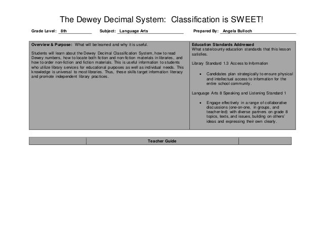 Bulloch final library observation lesson plan – Dewey Decimal System Worksheets