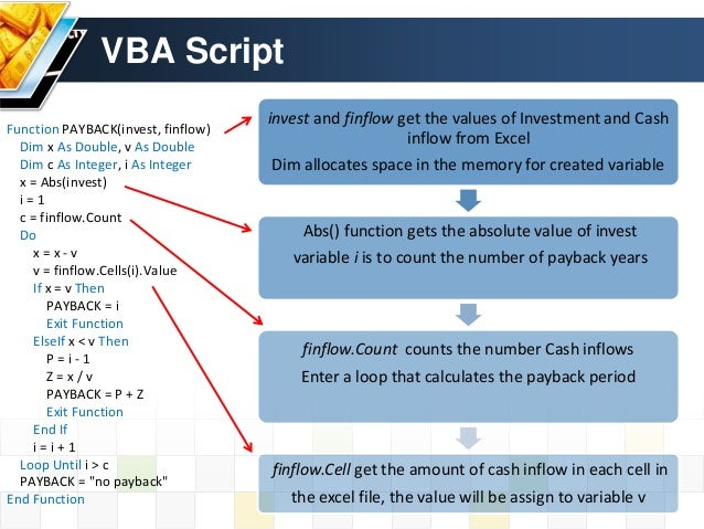 write a vba script that calculates the payback period for a project