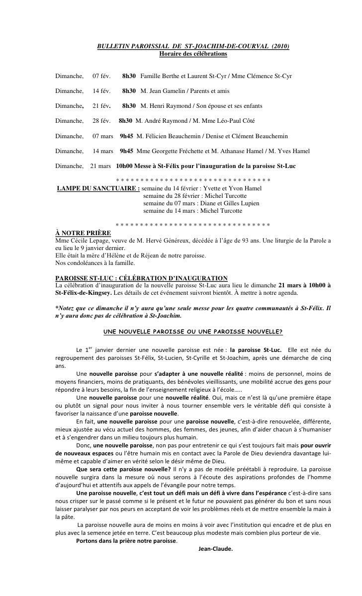 BULLETIN PAROISSIAL DE ST-JOACHIM-DE-COURVAL (2010)                                 Horaire des célébrations   Dimanche,  ...