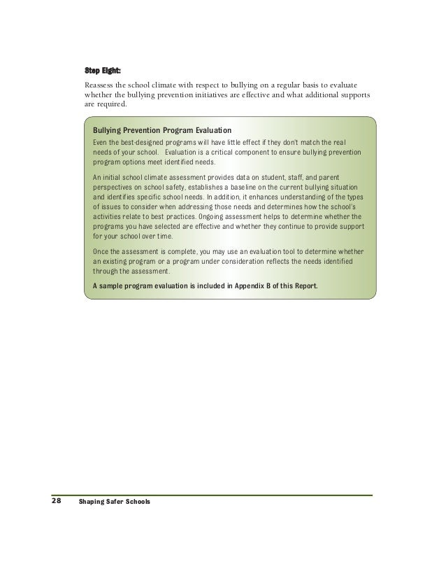 bullying recommendation report Recommendation #1: know the forms of bullying and recognize the effects respond to incidents of bullying students may be reluctant to report bullying.