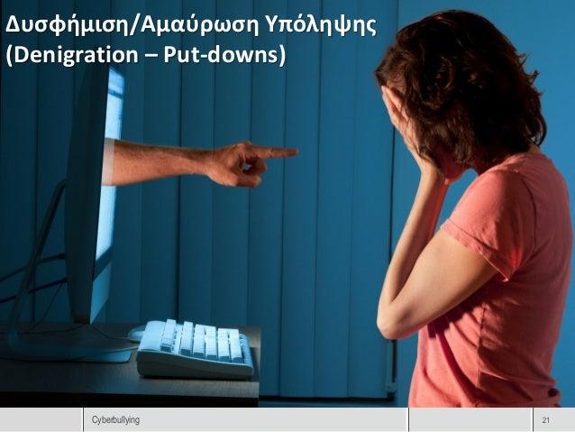 Δυσφήμιση/Αμαύρωση Υπόληψης(Denigration – Put-downs)      Cyberbullying           21