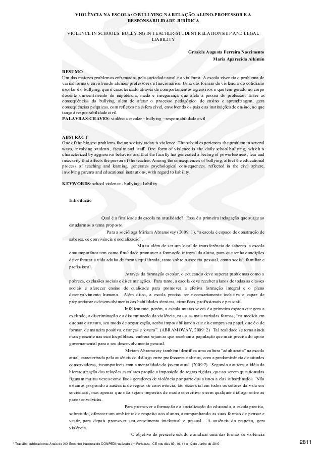 VIOLÊNCIA NA ESCOLA: O BULLYING NA RELAÇÃO ALUNO-PROFESSOR E A                                                           R...