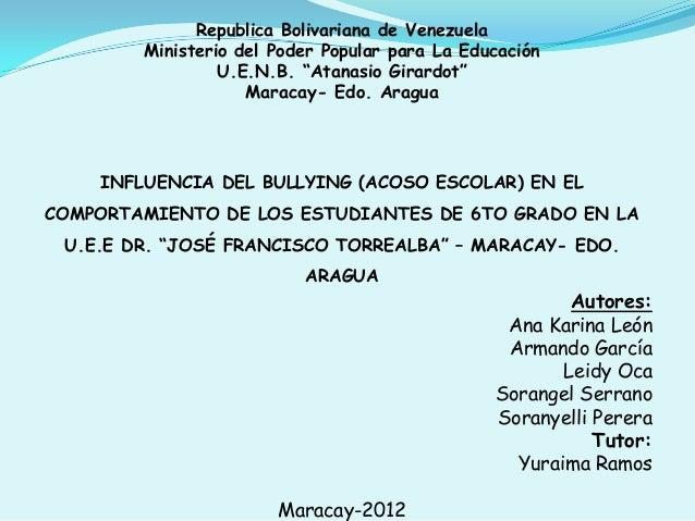 "Republica Bolivariana de Venezuela Ministerio del Poder Popular para La Educación U.E.N.B. ""Atanasio Girardot"" Maracay- Ed..."