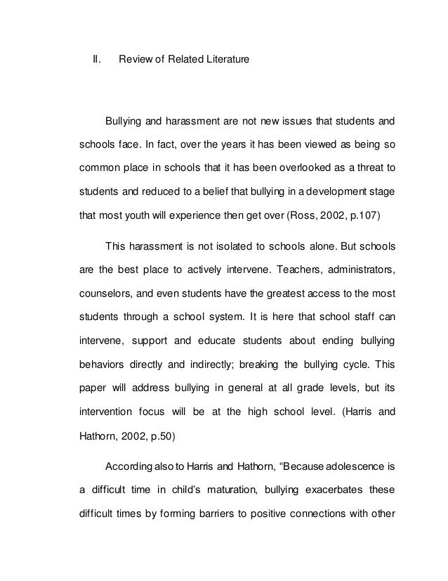 high school research paper on bullying