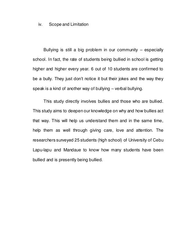 scope and delimitation of bullying