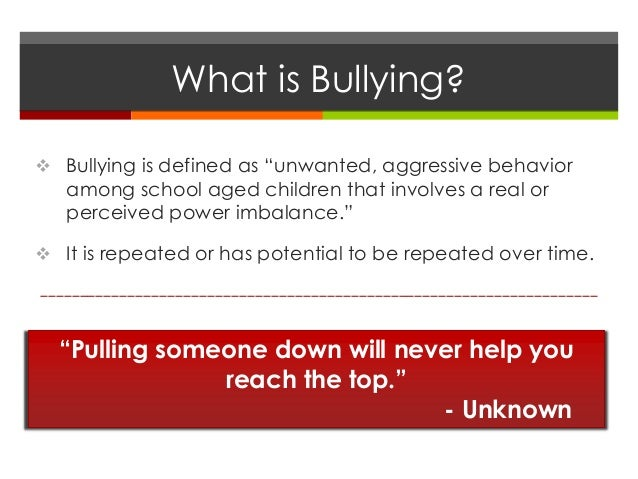 Problems of Well Being - Bullying Slide 2