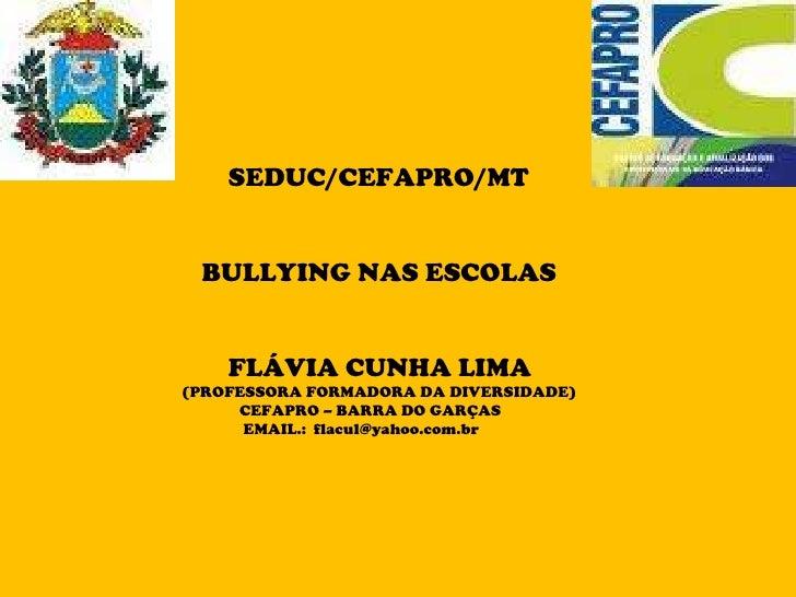 SEDUC/CEFAPRO/MT BULLYING NAS ESCOLAS FLÁVIA CUNHA LIMA   (PROFESSORA FORMADORA DA DIVERSIDADE) CEFAPRO – BARRA DO GARÇAS ...
